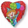 """Сердце 18""""(46см) Клоун с шариками (красный)"""