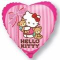 """Сердце 18""""(46см) Китти с медвежатами (розовый)"""