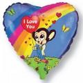 """Сердце 18""""(46см) Влюблённый Микки-Маус,радуга"""