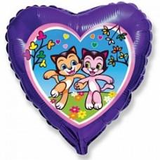 """Сердце 18""""(46см) Счастливые котята (фиолетовый)"""
