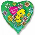 """Сердце 18""""(46см) Цыплёнок в цветах (зелёный)"""