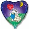 """Сердце 18""""(46см) Влюблённые Зайчата под луной (синий)"""