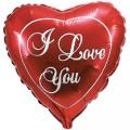 """Сердце большое  24""""(62см) """"I Love You """" красное"""