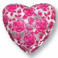 """Сердце 18 """" ( 46см )  Розовые розы"""