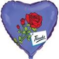 """Сердце 18 """" ( 46см ) Роза на синем"""