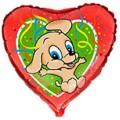 "Сердце 18 "" ( 46см ) Прыгучая Собака (красн)"