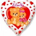 """Сердце 18 """" ( 46см ) Влюблённые Мишки (бело-красный)"""