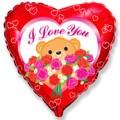 """Сердце 18 """" ( 46см ) Медвежонок с розами (красный)"""
