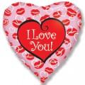 """Сердце 18 """" ( 46см ) """" Я Тебя Люблю """" (Поцелуи)"""