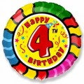 "Круг 18""(46см) Цифра ""4"" ""С Днём Рождения"""