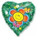 """Сердце 18""""(46см) Смайл-Цветок (зелёный)"""
