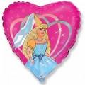 """Сердце 18""""(46см) Танцующая девушка в колпаке (розовый)"""