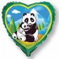 """Сердце 18""""(46см) Панды (зелёный)"""