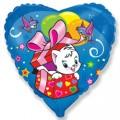 "Сердце 18""(46см) Котёнок с сюрпризом (синий)"