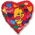 """Сердце 18""""(46см) Цыплёнок в сердечках (красное)"""