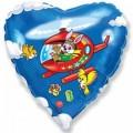 """Сердце 18""""(46см) Заяц в вертолёте (синий)"""
