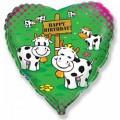 """Сердце 18""""(46см) """"С Днём Рождения"""" Коровы (зелёный)"""