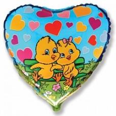 """Сердце 18""""(46см)  Два Цыплёнка в сердечках (голубое)"""