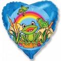 """Сердце 18""""(46см) Счастливый Лягушёнок (голубой)"""