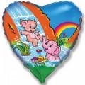 """Сердце 18""""(46см) Весёлые Слонята"""
