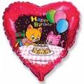 """Сердце 18""""(46см) """"С Днём Рождения"""" Коты с тортом (красный)"""