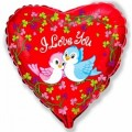 """Сердце 18""""(46см) Влюблённые Птички (красный)"""