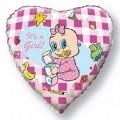 """Сердце 18""""(46см) Новорожденная девочка (розовый)"""