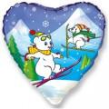 """Сердце 18""""(46см) Мишки на лыжах"""