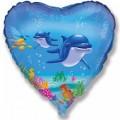 """Сердце 18""""(46см) Счастливый Дельфин (голубой)"""