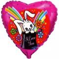 """Сердце 18""""(46см) """"Я Тебя Люблю"""" Заяц волшебник (фуксия)"""