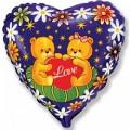 """Сердце 18""""(46см) Влюблённые Мишки (синий)"""