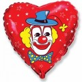 "Сердце 18""(46см) Клоун (красный)"