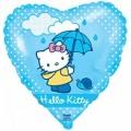 """Сердце 18""""(46см) Китти с зонтиком (голубой)"""