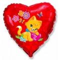 """Сердце 18""""(46см) """"Love You"""" Котёнок Цветы и бабочки (красный)"""