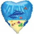 """Сердце 18""""(46см) Дельфины (голубой)"""