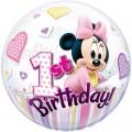 """Шар BUBBLE прозрачный 22""""(56см) Disney """"1-й День Рождения"""" МИННИ МАУС (2 разных рис.)"""