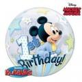 """Шар BUBBLE прозрачный 22""""(56см) Disney """"1-й День Рождения"""" МИККИ МАУС (2 разных рис.)"""