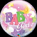 "Шар BUBBLE прозрачный 22""(56см) BABY GIRL Луна и Звёзды"