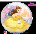 """Шар BUBBLE прозрачный 22""""(56см) Disney Принцесса БЕЛЬ (2 разных рис.)"""