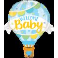 """""""WELCOME Baby"""" Воздушный шар ГОЛУБОЙ  42""""(106см) Фигура Большая (в упаковке)"""