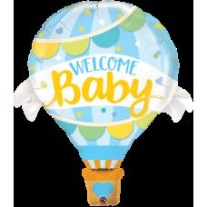 """""""WELCOME Baby"""" Воздушный шар ГОЛУБОЙ  42""""(106см) Фигура Большая (в упаковке) США"""