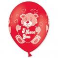 """Мишка """" I Love You"""" 14""""(35см) красный пастель (круговая печать)"""