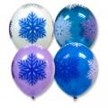 """Снежинки многоцветные 14""""(35см) пастель и кристалл ассорти (круговая печать)"""
