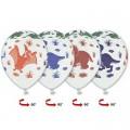 """Динозаврики Многоцветн. 14""""(35см) пастель белый - рис.цветной (круговая печать)"""