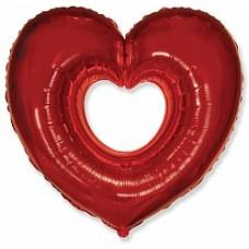 """Сердце в Сердце (бублик) КРАСНОЕ  35""""(88см) Фигура Большая"""