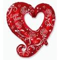 """Сердце завитое с розами """"Love You"""" 35""""(88см) Фигура Большая"""