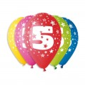 """Цифры """"5""""(Звёзды)  12""""(30см) ассорти пастель (круговая печать) ИТАЛИЯ"""