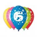 """Цифры """"6""""(Звёзды)  12""""(30см) ассорти пастель (круговая печать) ИТАЛИЯ"""