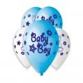 """BABY BOY( Мишка,звёзды) 12""""(30см) пастель ГОЛУБОЙ 09, СИНИЙ 10 (круговая печать)"""